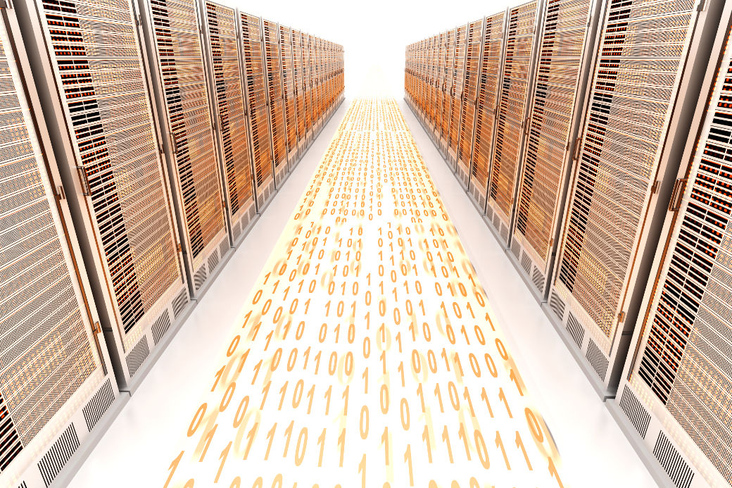 Data rush on the Server highway. 3d rendered Illustration.