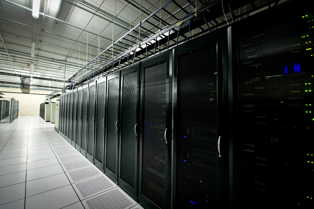 Interior view of a data center with equipment