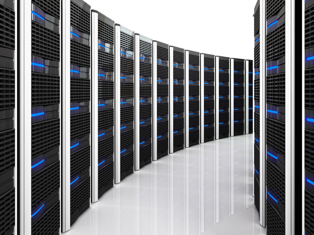 3d image of datacenter with lots of server